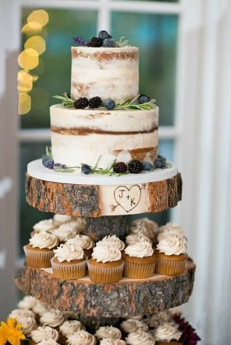 small rustic wedding cakes naked minimalist with berries and cupcakes lindsey docherty osteopath