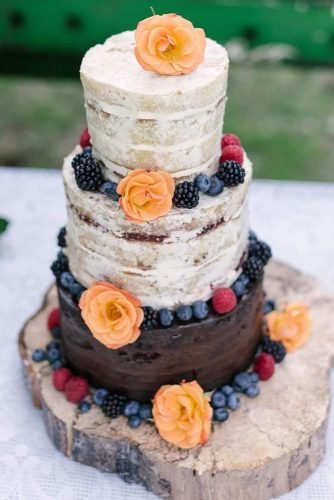 small rustic wedding cakes small naked with flowers and berries lauren ryan