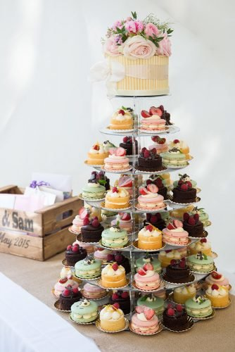small rustic wedding cakes small with flowers and colorful cupcakes especially amy