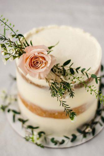 small rustic wedding cakes white naked cake with fresh pink rose and greenery rushyama