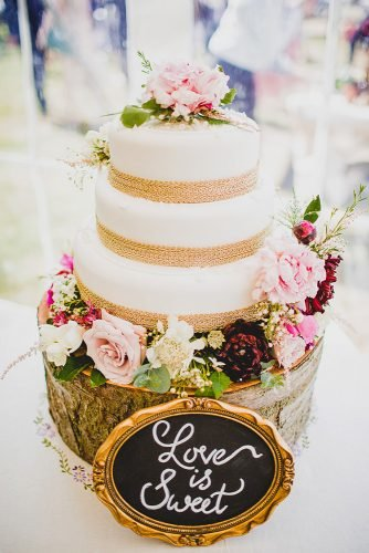 small rustic wedding cakes white with burlap stripes and pink roses romantic sign decor jonny mp photography