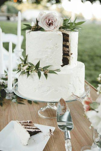 small rustic wedding white two tired simple buttercream with rose and greenery bogomazstudio