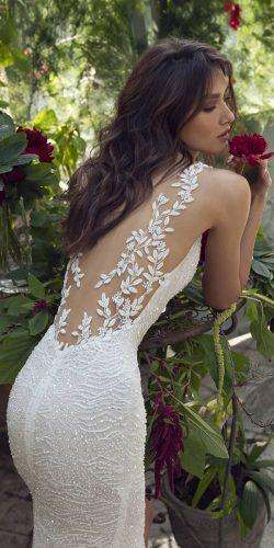 tattoo effect wedding dresses illusion back floral appliques lian rokman