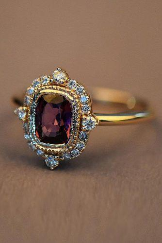 vintage engagement rings gold engagement rings halo ruby