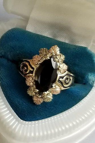 vintage engagement rings marquise cut black diamond halo yellow gold