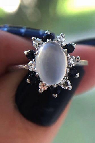 vintage engagement rings moonstone halo oval cut snowflake