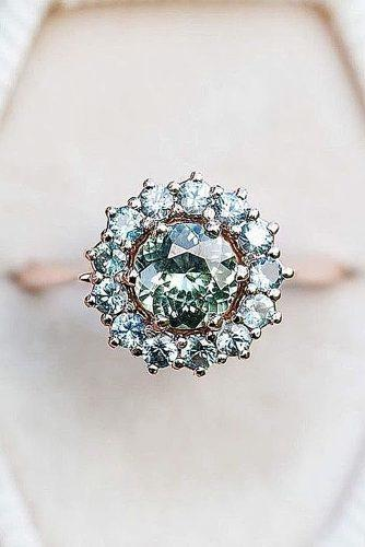 vintage engagement rings round cut gemstone floral halo rose gold