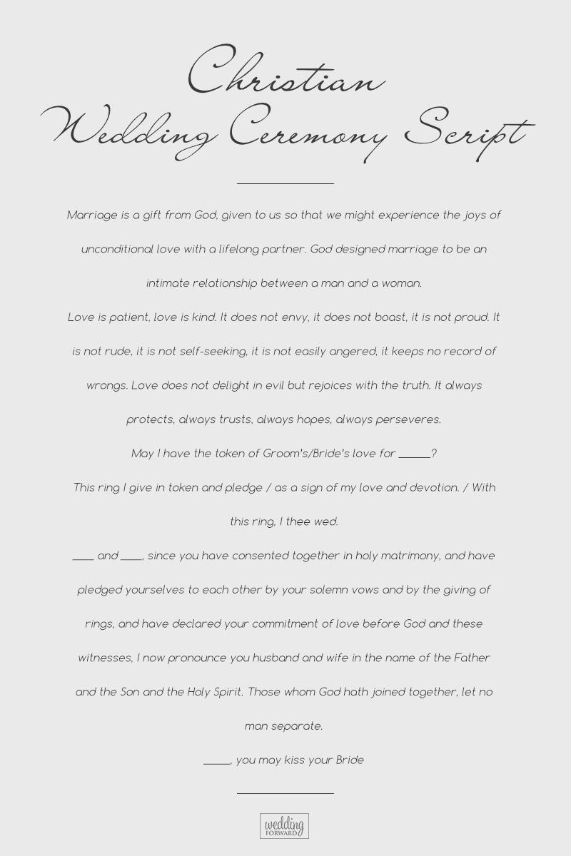 wedding ceremony script christian script