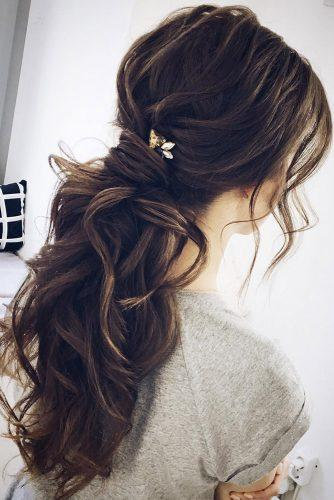 759c464aed wedding hairstyles for long hair elegant wavy volume ponytail on brown hair  lenabogucharskaya