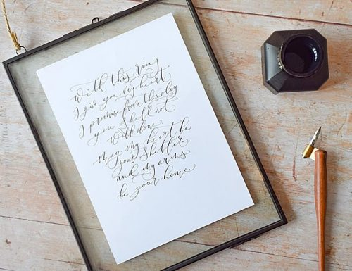 wedding vows for her calligraphy
