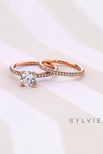 wedding rings diamond engagement rings round cut diamond engagement rings rose gold engagement rings classic engagement rings pave band sylviecollection