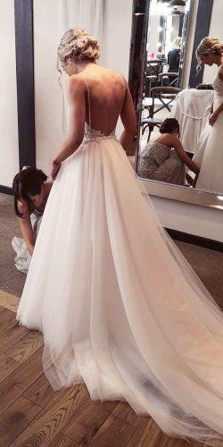 a line wedding dresses low back with spaghetti straps with train madewithlovebridal