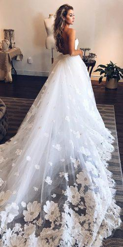 a line wedding dresses low back with train floral ines di santo