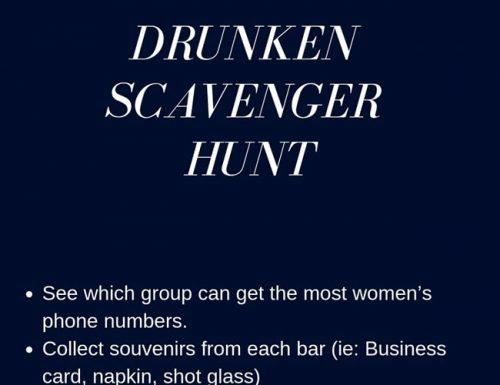 bachelor party games drunken scavenger hunt