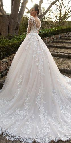 ball gown wedding dresses ball gown with illusion long sleeves floral appliques navibluebridal