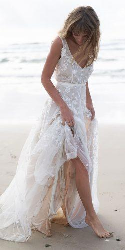 beach wedding dresses a line v neckline floral embellishment annacampbell