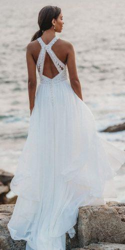 beach wedding dresses open back a line flowy allurebridals