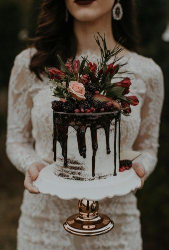 bohemian wedding cakes drip chocolate on cake B Mathews Creative