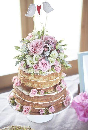 bohemian wedding cakes naked cake pink rose Natalie J Weddings