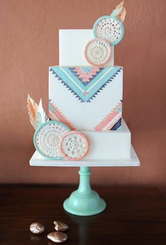bohemian wedding cakes square boho cake Julie Cate