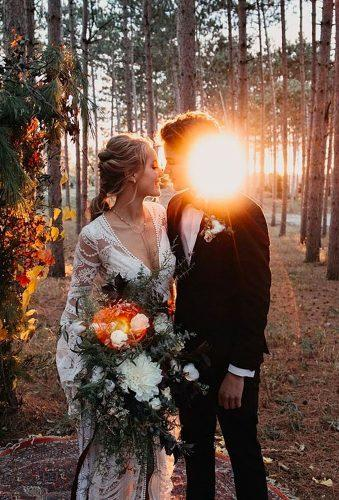 bohemian wedding photos romantic couple at sunset Nicole Castonguay