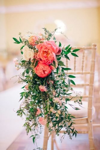 coral wedding decorations chair decor M J Photography