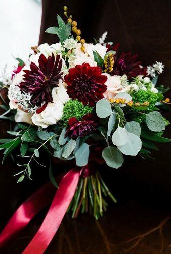 dahlias wedding bouquets burgundy daglia with0tape vnessphotography