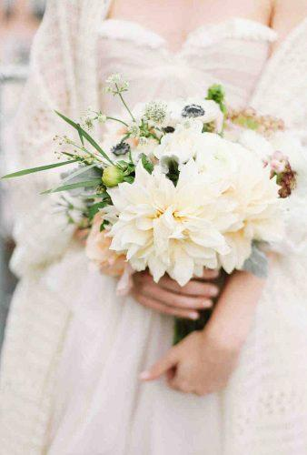 dahlias wedding bouquets simple bouquet feather twine photography
