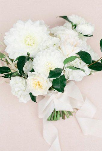 dahlias wedding bouquets white bouquet with ribbon lauraivanova
