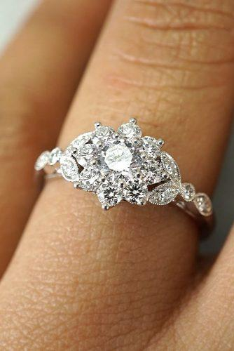 engagement ring inspiration flower halo round cut diamond