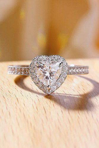 engagement ring inspiration heart cut halo pave band