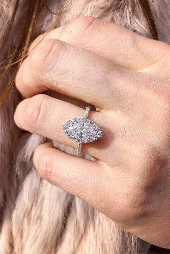 engagement ring inspiration marquise cut halo pave band diamond