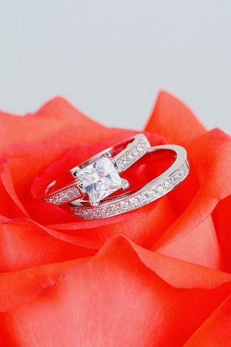 engagement ring inspiration princess cut diamond wedding set