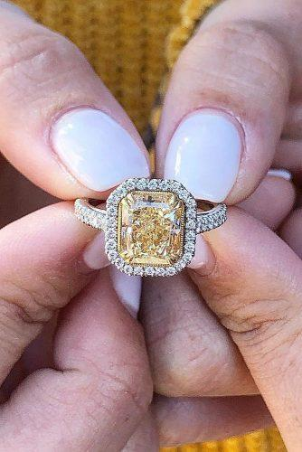 engagement ring inspiration radiant cut yellow diamond halo pave band