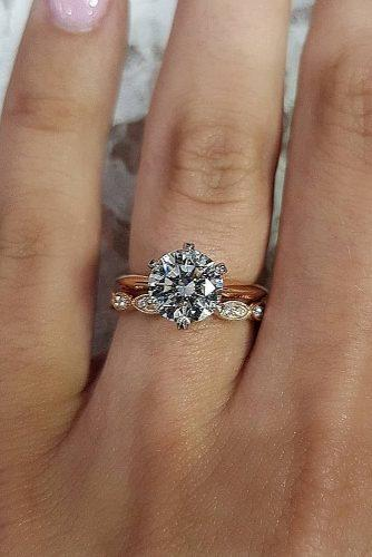engagement ring inspiration rose gold round cut solitaire wedding set