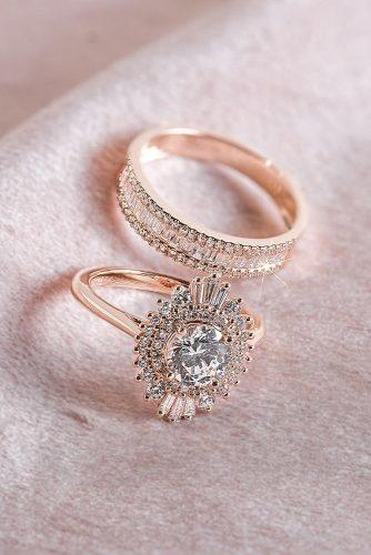 engagement ring inspiration rose gold unique halo wedding set
