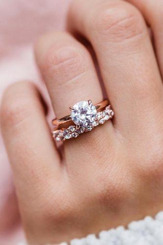 engagement ring inspiration rose gold wedding set diamond round cut