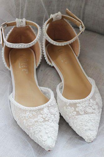 flat wedding shoes lace with pearls shop kaileep