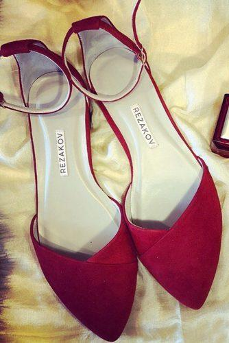 flat wedding shoes red colored kamil rezakov