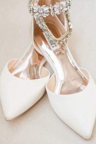 flat wedding shoes white crystal badgleymischka