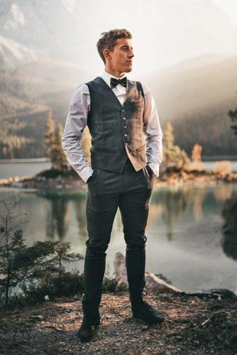 groom attire boho vest with bow tie