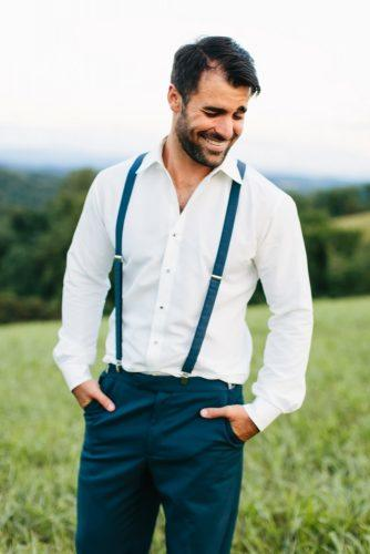 groom attire with suspender white shirt