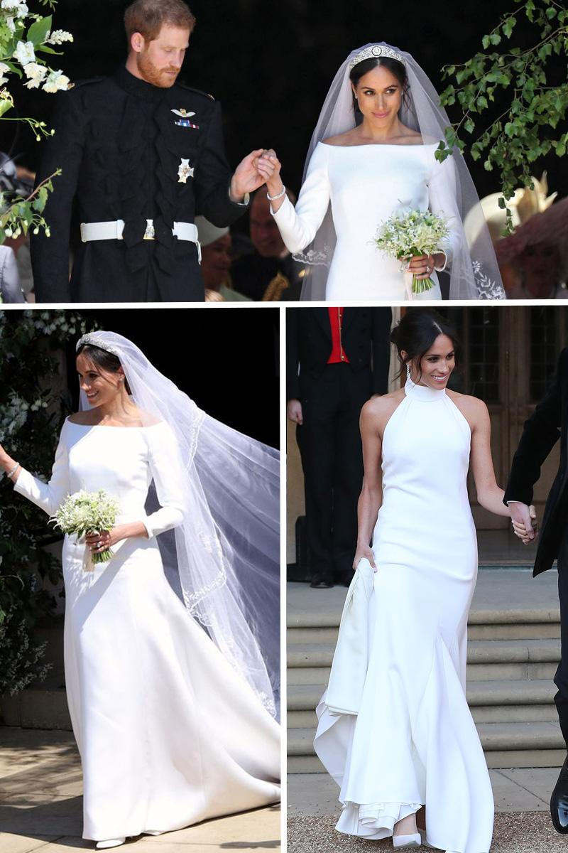 meghan markle wedding dresses collage