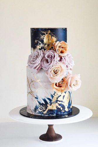 metallic wedding cake blue cake tender flower laombrecreations
