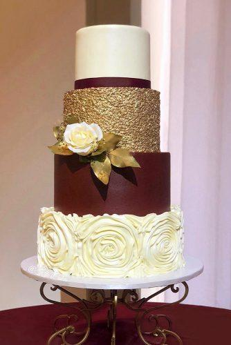 metallic wedding cake butgundy cake with texture gold kitoscakes