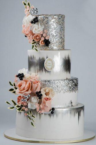 metallic wedding cake flower silver cake sas sweet
