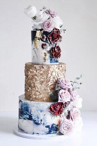 metallic wedding cake marble flower cake laombrecreations