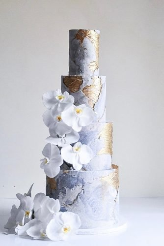 metallic wedding cake modern cake laombrecreations