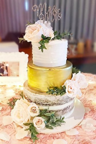 metallic wedding cake rustic cake with gold elisespieces22