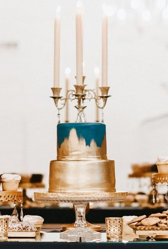 metallic wedding cake small blue gold cake jessicarobinsonphoto